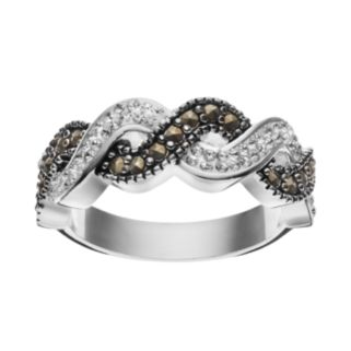 Silver Luxuries Marcasite & Crystal Woven Ring