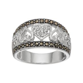 Silver Luxuries Silver Plated Marcasite & Crystal Heart Ring