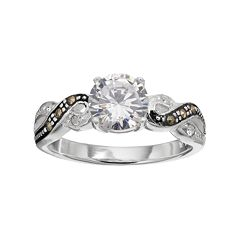 Silver Luxuries Silver Plated Cubic Zirconia & Marcasite Twist Ring