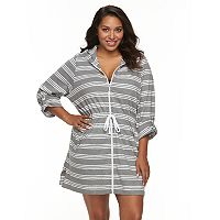Plus Size Apt. 9® Hooded Striped Zip-Front Cover-Up