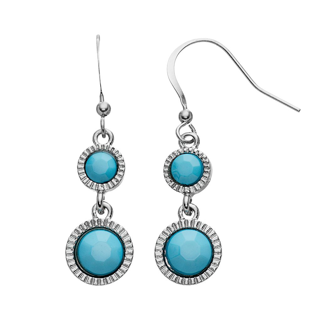 Aqua Round Double Drop Earrings
