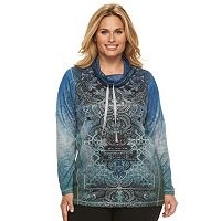 Plus Size World Unity Embellished Graphic Cowlneck Top