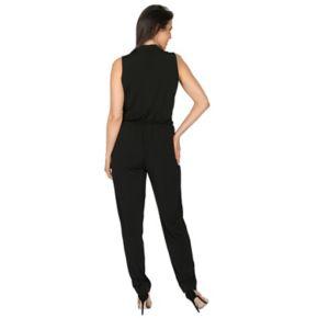 Women's Harve Benard Solid Surplice Jumpsuit
