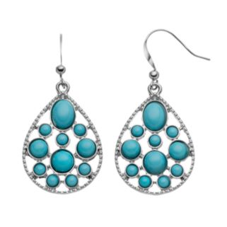 Aqua Cabochon Teardrop Earrings