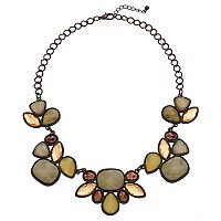 Olive Green Geometric Stone Statement Necklace