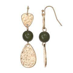 Green Hammered Teardrop Nickel Free Linear Drop Earrings