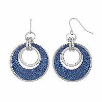 Blue Glittery Link Drop Hoop Earrings