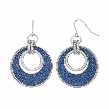 Blue Glittery Link Drop Hoop Earrings
