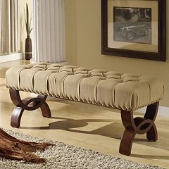 HomePop Carolina Tufted & Nailhead Trim Bench