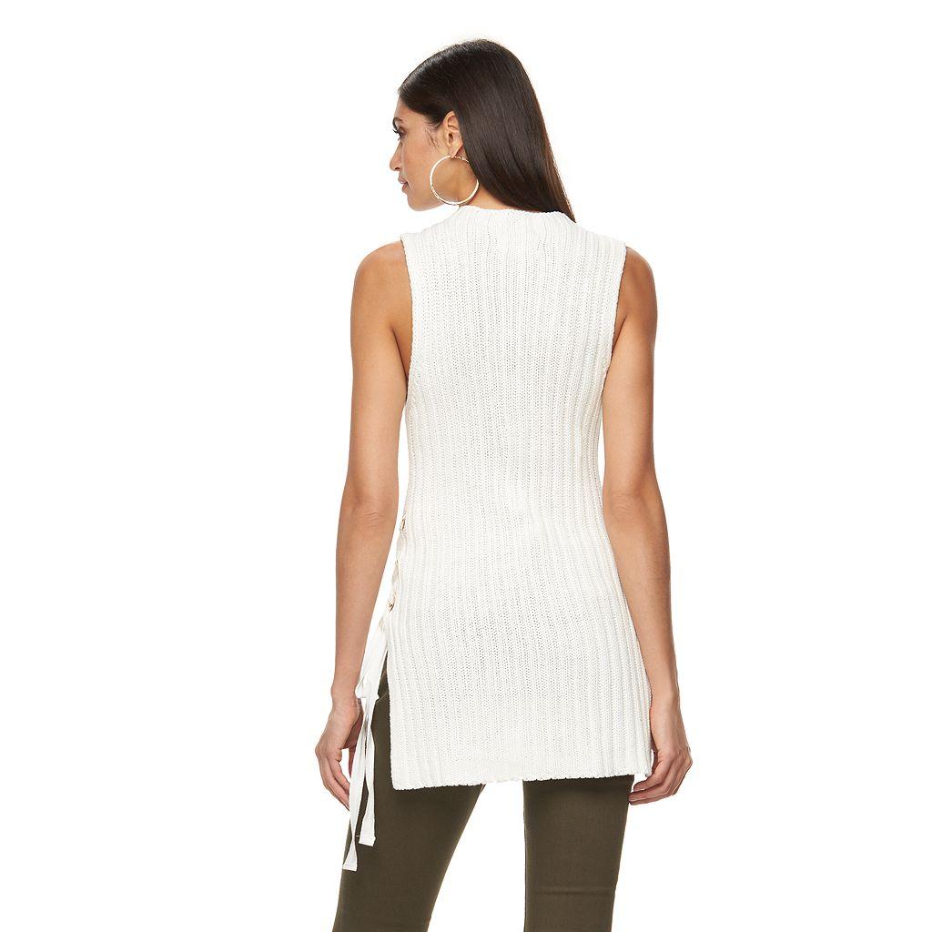 Women's Jennifer Lopez Lace-Up Sleeveless Sweater