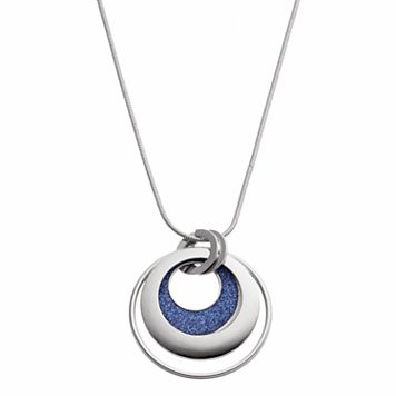 Long Blue Glittery Circle Pendant Necklace