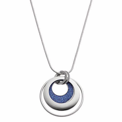 Long Blue Glittery Circle Pendant Necklace