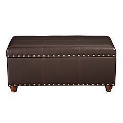 HomePop Nailhead Faux-Leather Storage Ottoman