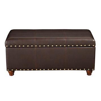 HomePop Nailhead Faux-Leather Storage Ottoman