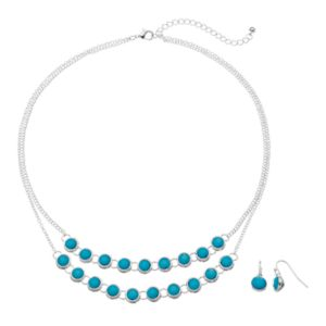 Aqua Stone Double Strand Necklace & Drop Earring Set