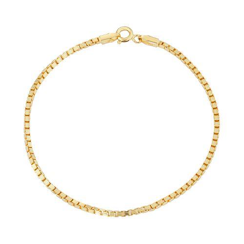 14k Gold Over Silver Box Chain Bracelet