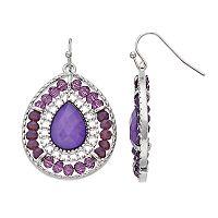 Purple Beaded & Textured Nickel Free Teardrop Earrings