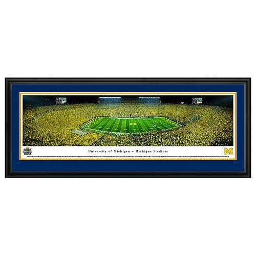 Michigan Wolverines Football Stadium 50-Yard Line Framed Wall Art