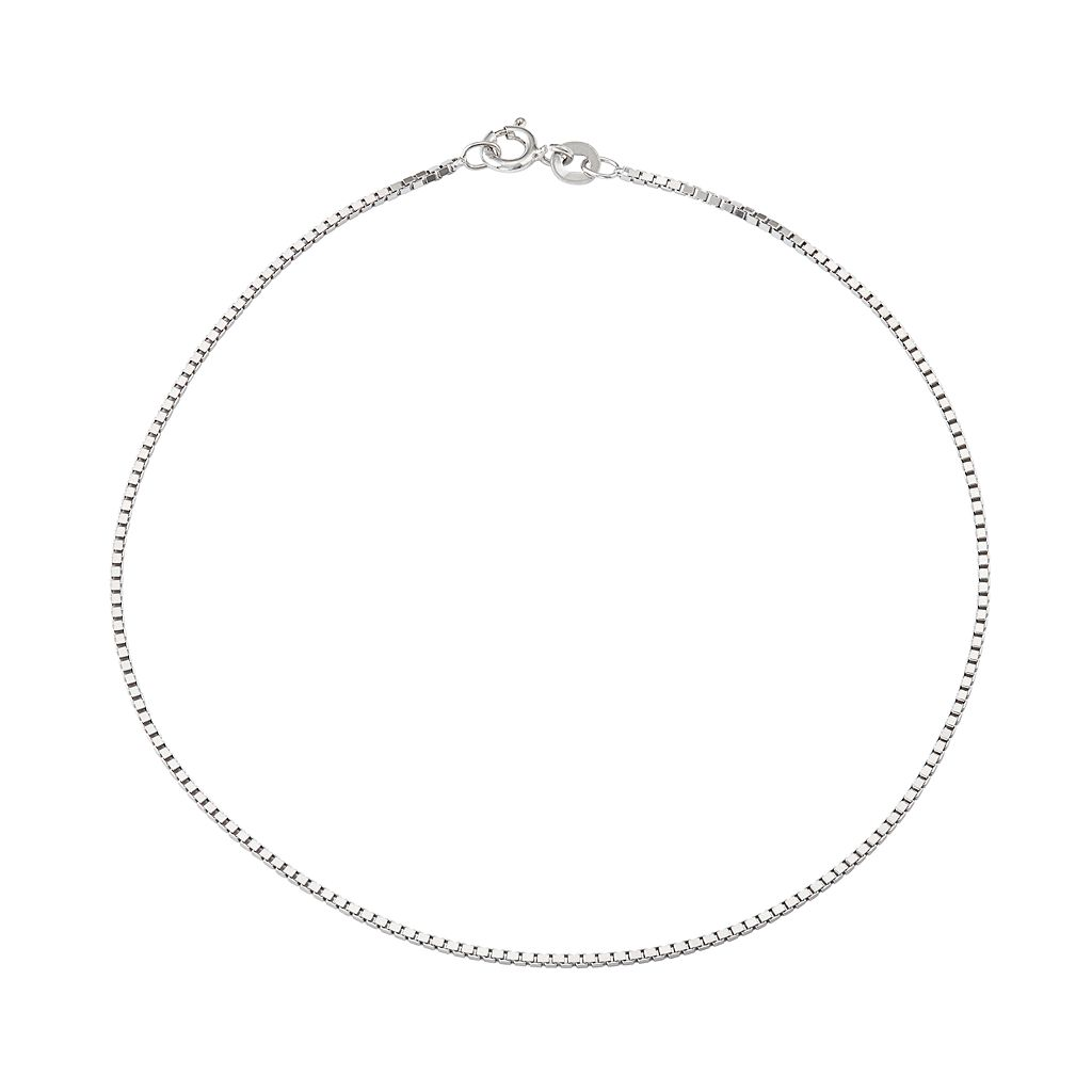 Sterling Silver Box Chain Anklet