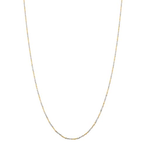 Tri-Tone 10k Gold Adjustable Cyclone Chain Necklace