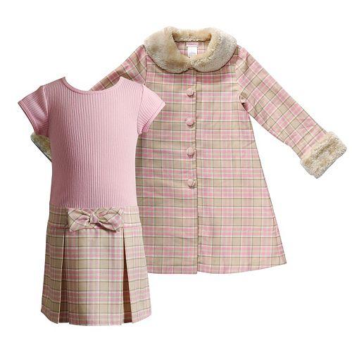 Toddler Girl Youngland Metallic Plaid Faux-Fur Jacket & Ribbed Knit Dress Set