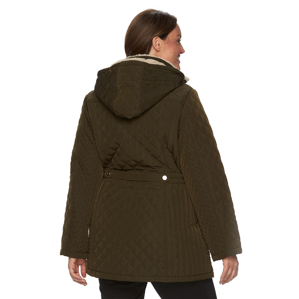 Plus Size Croft & Barrow® Hooded Quilted Long Jacket