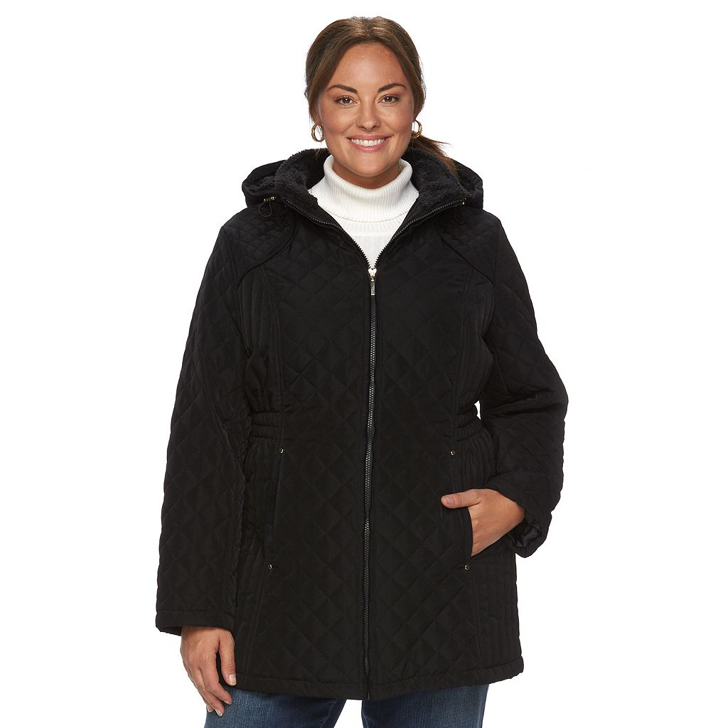 Plus Size Croft & Barrow¨ Hooded Quilted Long Jacket