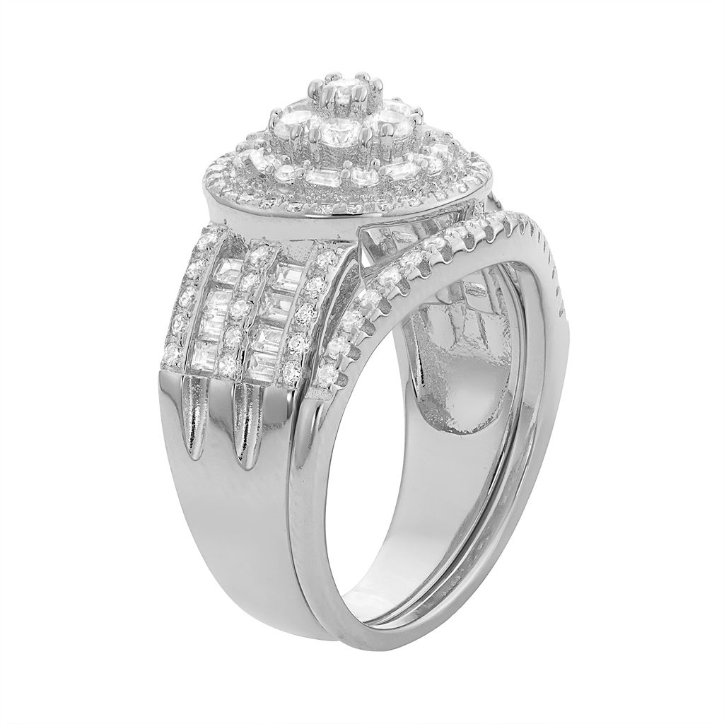 Sterling Silver Cubic Zirconia Tiered Ring Set