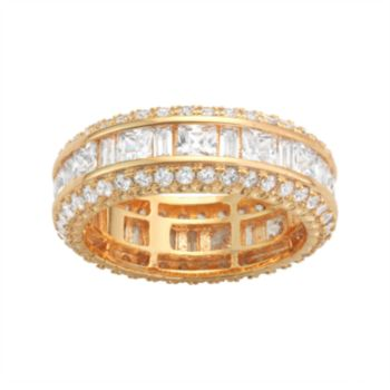 14k Gold Over Silver Cubic Zirconia Eternity Ring