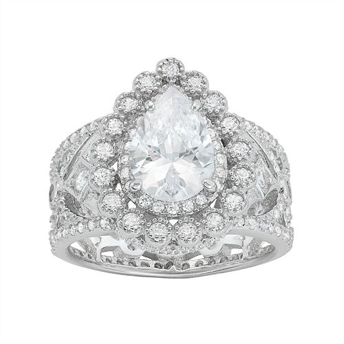 Sterling Silver Cubic Zirconia Pear Halo Filigree Ring