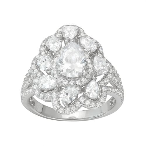 Sterling Silver Cubic Zirconia Pear Halo Ring