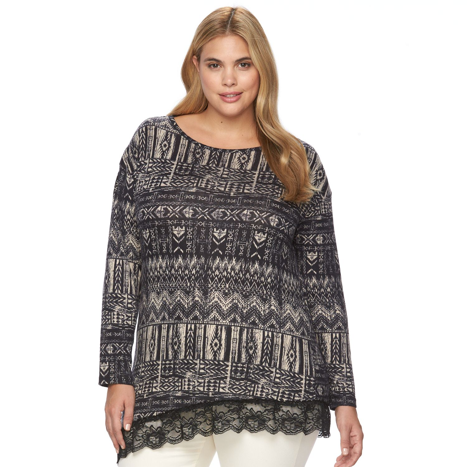 Plus Size French Laundry Printed Lace-Hem Top