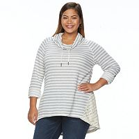 Plus Size French Laundry Striped Thermal Pullover