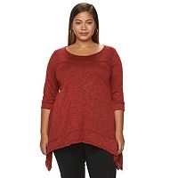 Plus Size French Laundry Open-Back Shark-Bite Top