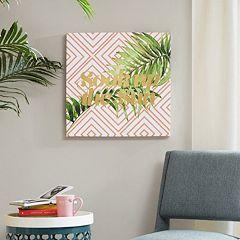 Intelligent Design 'Soak Up The Sun' Gold Tone Foil Canvas Wall Art