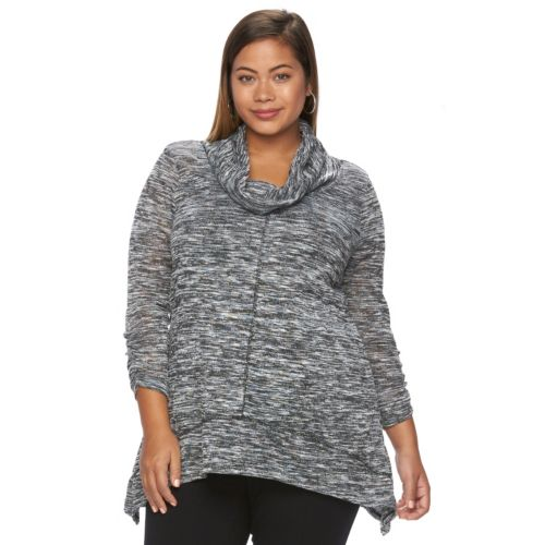 Plus Size French Laundry Space-Dyed Cowlneck Top