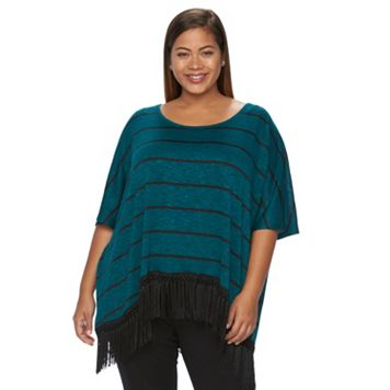 Plus Size French Laundry Striped Fringe-Hem Top