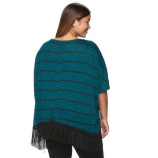 Plus Size French Laundry Striped Fringe-Hem Top