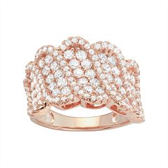 14k Rose Gold Over Silver Cubic Zirconia Wave Ring
