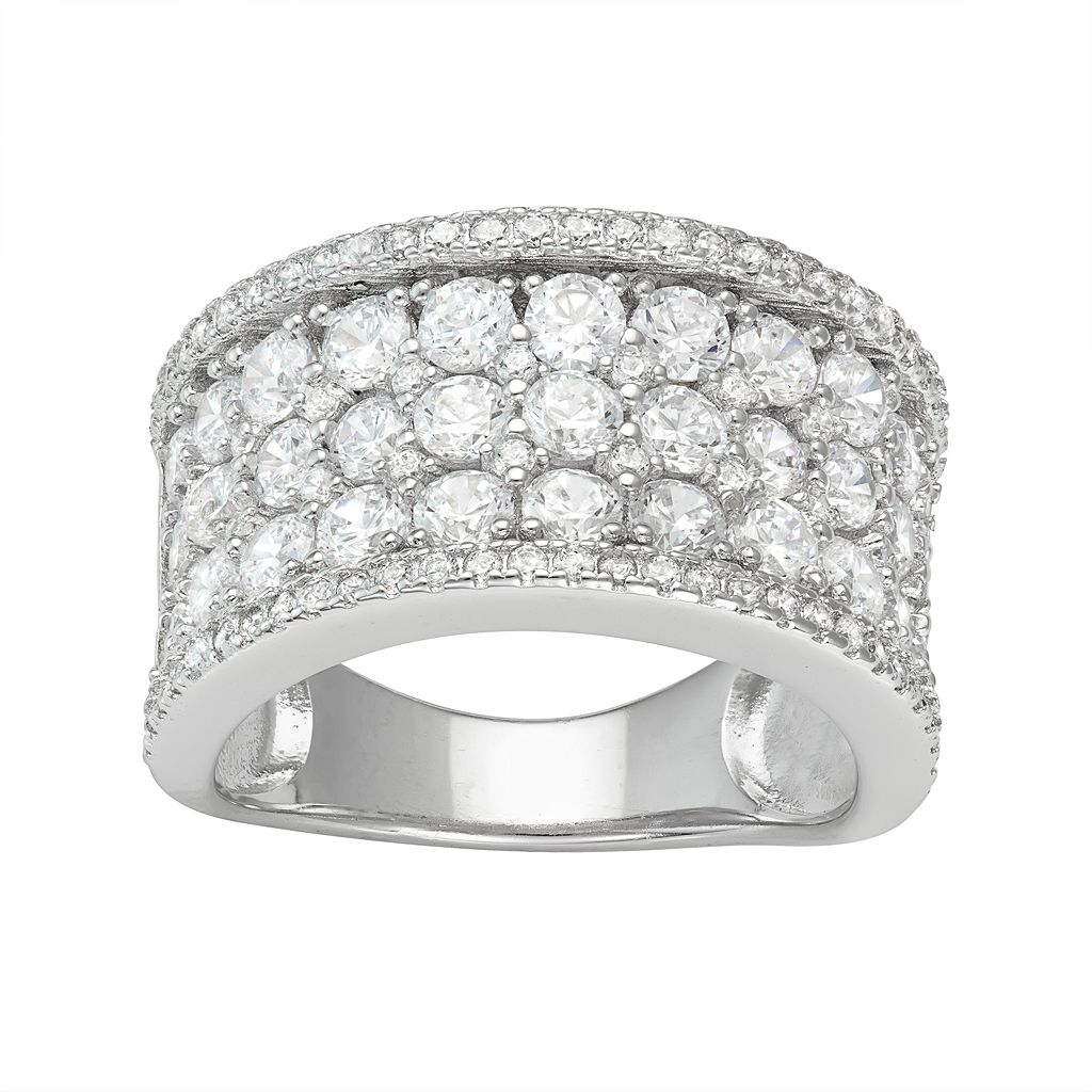 Sterling Silver Cubic Zirconia Concave Ring