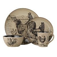 Pfaltzgraff Everyday Homespun Rooster 16 pc Dinnerware Set