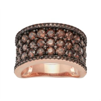 14k Rose Gold Over Silver Cubic Zirconia Concave Ring