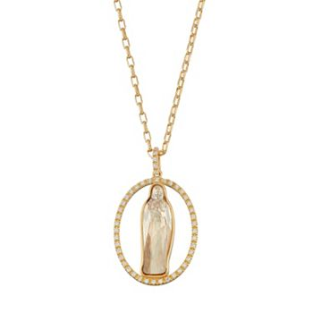 18k gold plated crystal virgin mary oval halo pendant necklace aloadofball Choice Image