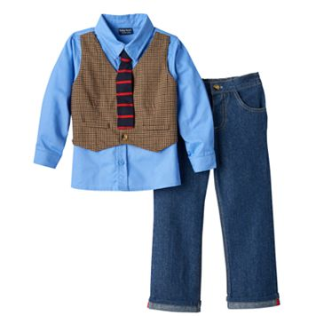 Toddler Boy Baby Boyz Mock-Layered Vest Button-Down Shirt & Pants Set