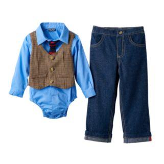 Baby Boy Baby Boyz Button-Down Bodysuit, Mock-Layer Vest & Jeans Set