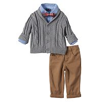 Baby Boy Baby Boyz Cable Knit Shawl Cardigan, Shirt & Pants Set with Bow Tie