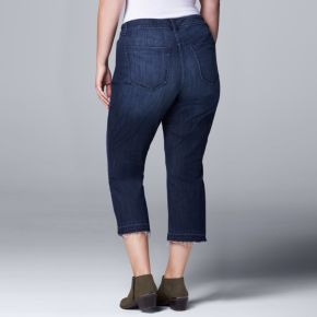 Plus Size Simply Vera Vera Wang Release-Hem Capri Jeans