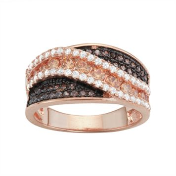 14k Rose Gold Over Silver Cubic Zirconia Swirl Ring