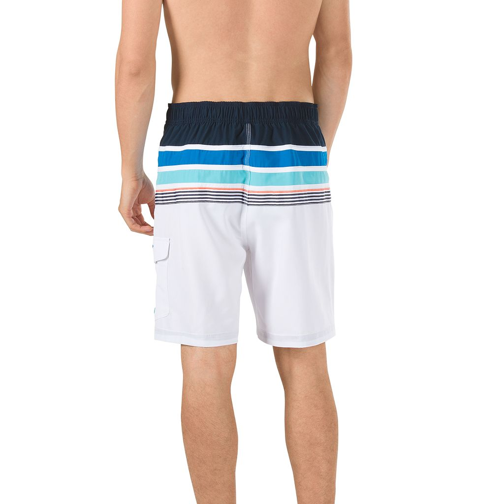 Men's Speedo Nautical Tape Striped 4-Way Stretch E-Board Shorts