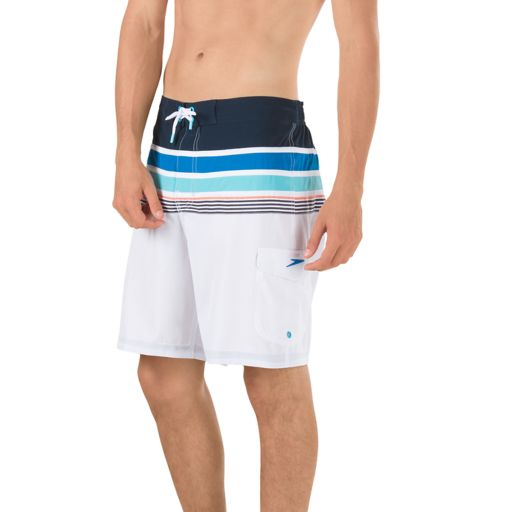 Men's Speedo Nautical Tape Striped 4-Way Stretch E-Board Shorts
